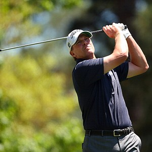 Steve Stricker, of the United States, hits his tee shot on the fourth hole at the Masters.
