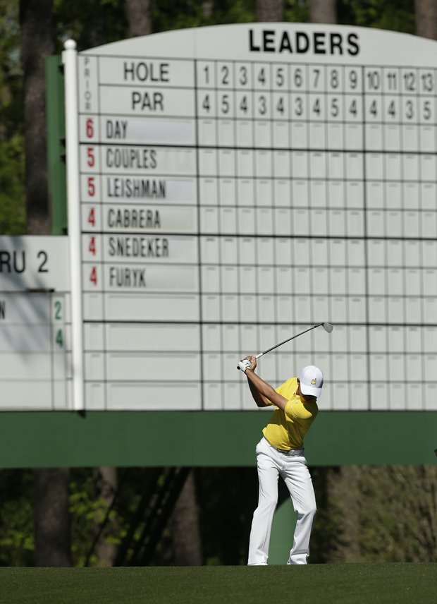 Amateur Guan Tianlang, of China, during the third round of the Masters on Saturday, April 13, 2013.