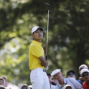 Amateur Guan Tianlang, of China, during the third round of the Masters.