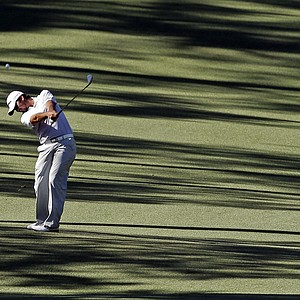 Jason Day, of Australia, hits on the 10th fairway during the third round of the Masters.