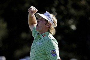 Brandt Snedeker reacts after making a birdie putt on the 15th hole.
