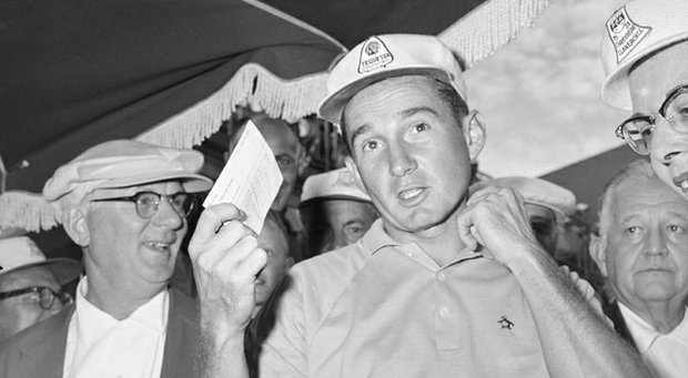 Dow Finsterwald, shown after winning the '58 PGA, was assessed a 'retroactive' two-stroke penalty at the 1960 Masters, setting possible precedent for Tiger Woods' penalty over a drop in the 2013 Masters.