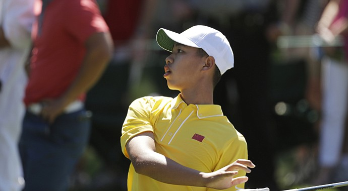 Tianlang Guan during his 5-over-par third round of the 2013 Masters.