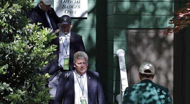 Members of the Augusta National Competition Committee before the third round of the 2013 Masters.
