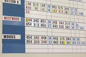 The scoreboard in the media center at Augusta National shows an updated second-round score for Tiger Woods at the par-5 15th, an 8 after a two-shot penalty.