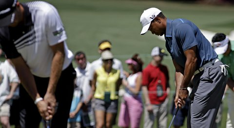 Tiger Woods prepares among his peers for the third round of the 2013 Masters.