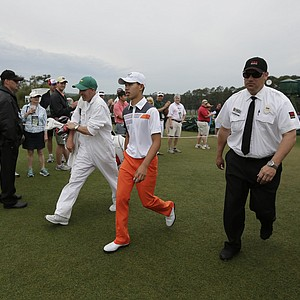 Amateur Guan Tianlang, of China, during the fourth round of the Masters golf tournament.