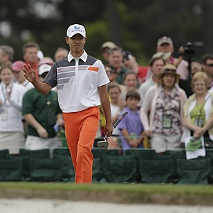 Tianlang Guan during the final round of the 77th Masters Sunday at Augusta National.