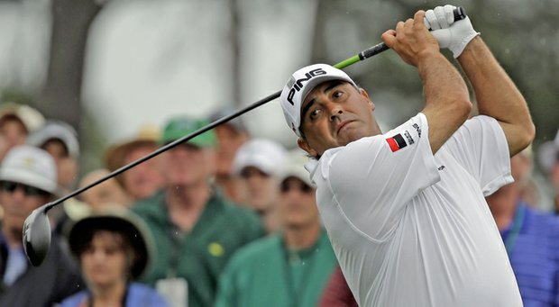 Angel Cabrera during the final round of the Masters Sunday at Augusta National.