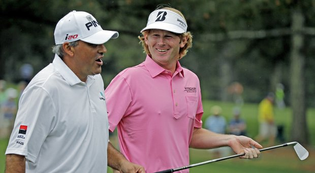 Angel Cabrera, left, and Brandt Snedeker during the final round of the 77th Masters Sunday at Augusta National.