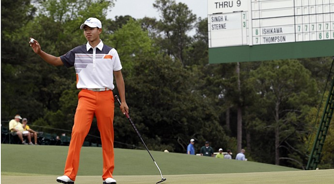 Tianlang Guan after his final round at the 2013 Masters.
