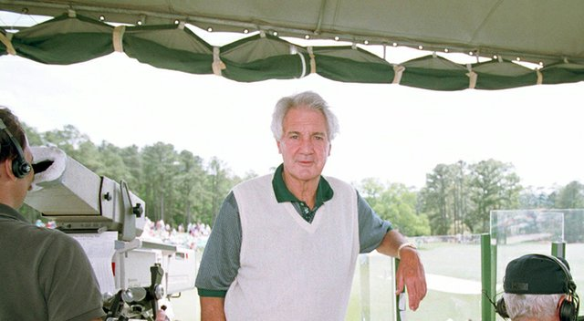 Pat Summerall at Augusta National during his tenure as the voice of the Masters.