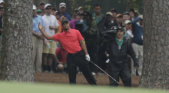 Tiger Woods on the back nine during the final round of the 2013 Masters.