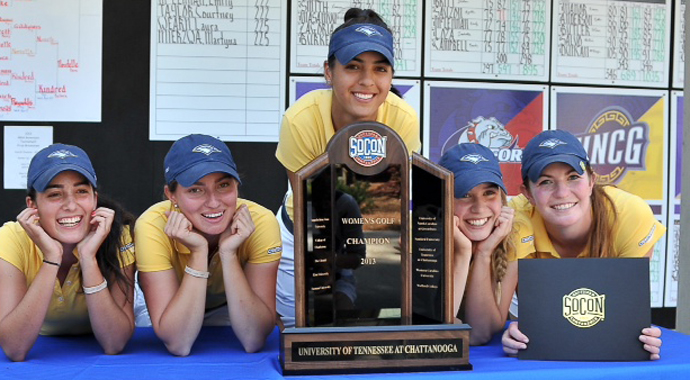 Isabella Loza, Medalist Agathe Sauzon, Porsche Campbell, Emily McLennan and Jordan Britt of the Tennessee-Chattanooga Mocs after their 2013 Southern Conference tournament win.