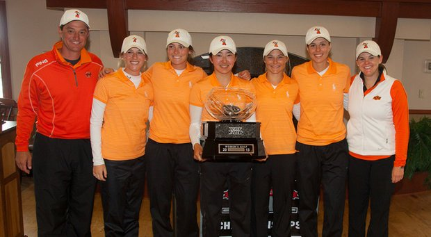 Oklahoma State held off Baylor to win the Big 12 Championship on April 21.