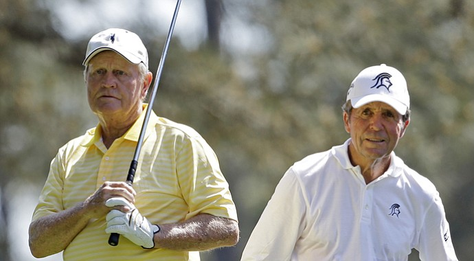 Jack Nicklaus and Gary Player during the par-3 contest at the 2013 Masters.