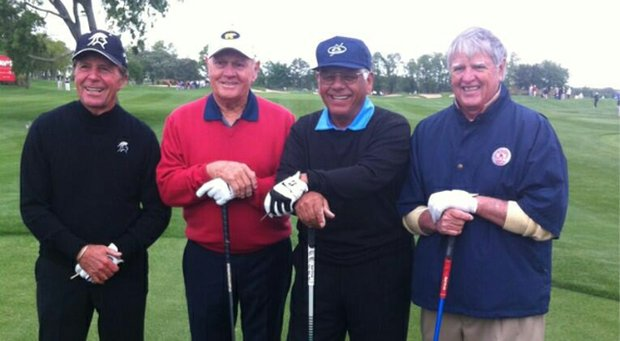 Gary Player, Jack Nicklaus, Lee Trevino and Mike Hill at the Legends of Golf.