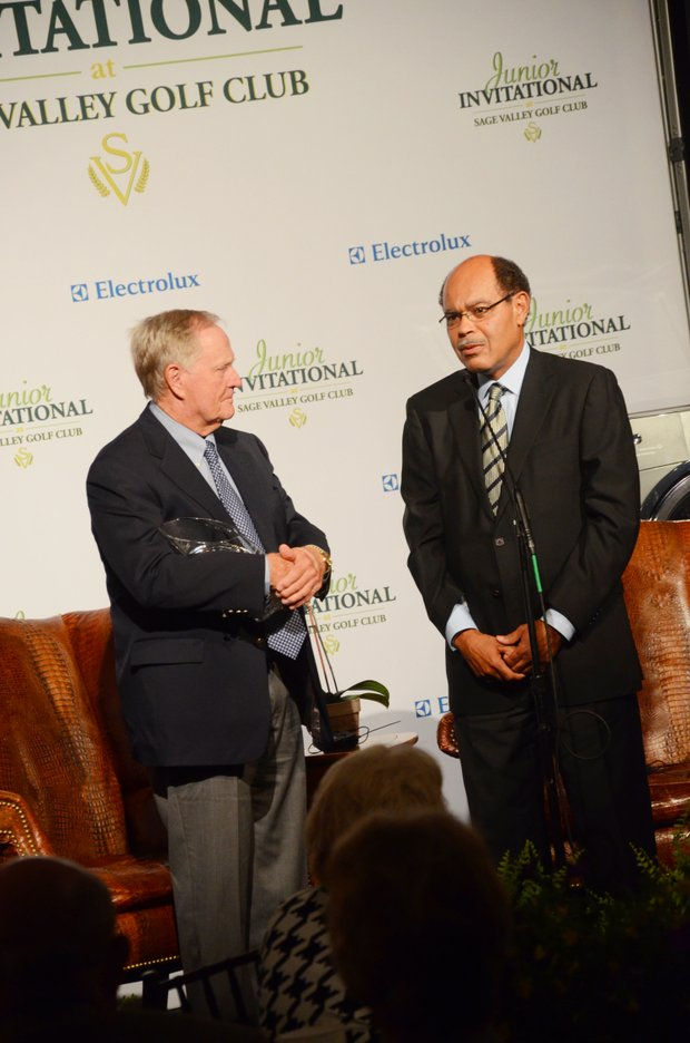 Jack Nicklaus was presented the Founders Award by Joe Barrow Jr., chief executive officer of the First Tee, on Wednesday night at Opening Night ceremonies.