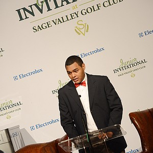 Former First Tee participant Sam Odi spoke to the values the organization upholds during Opening Night at the Junior Invitational at Sage Valley.