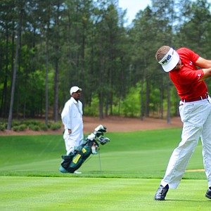 Cameron Champ, of Sacramento, Calif., hits off the 18th tee during the junior-am on Thursday at the Junior Invitational at Sage Valley.