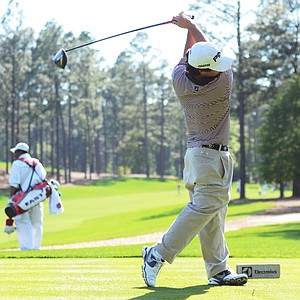 Greyson Sigg takes a big swing on the 18th tee on Thursday during the junior-am at the Junior Invitational.