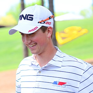 Defending champion Zachary Olsen, of Cordova, Tenn., talks to reporters after his junior-am round at the Junior Invitational on Thursday.