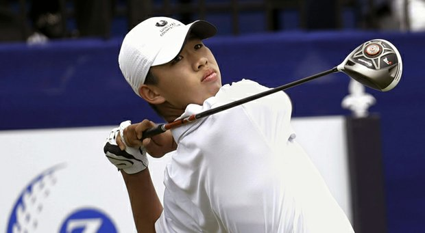 Tianlang Guan during the first round of the 2013 Zurich Classic of New Orleans.