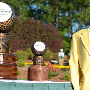 The yellow jacket and trophy displayed on the first tee at the Junior Invitational on Friday.