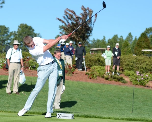 Emil Soogard hits his opening tee shot at the Junior Invitational on Friday.