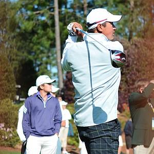 Carl Yuan hits his opening tee shot at the Junior Invitational on Friday.