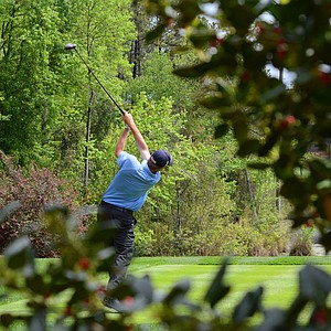 Matt Gilchrest hits his tee ball on the par-4 3rd hole during the second round of the Junior Invitational at Sage Valley.