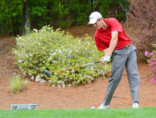 Robby Shelton hits his tee ball at the par-4 3rd hole during the second round of the Junior Invitational at Sage Valley.