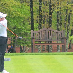 Robby Shelton hits his tee ball at the par-5 10th hole during the final round of the Junior Invitational at Sage Valley.