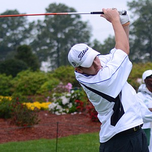 Robby Shelton tees off on the par-4 1st hole in the final round of the Junior Invitational at Sage Valley on Sunday.