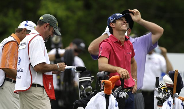 Not everyone manages a laugh while waiting to hit, as Billy Horschel did at the No. 14 tee during the final round of his win in the 2013 Zurich Classic of New Orleans.