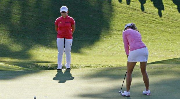 Paula Creamer's putt misses during Jiyai Shin's playoff LPGA win in the 2012 Kingsmill Championship.