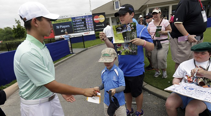 Tianlang Guan during the 2013 Zurich Classic of New Orleans.