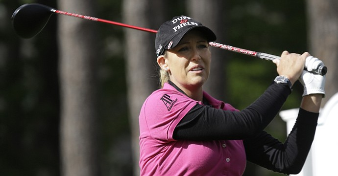 Cristie Kerr watches her tee shot on the 16th hole during the third round of the Kingsmill Championship.