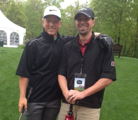 Brad Dalke with his brother-in-law Matt Roy during the Junior Invitational at Sage Valley.