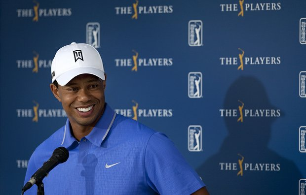 Tiger Woods addresses the media on Tuesday of The Players Championship at TPC Sawgrass.