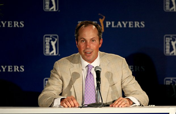 Defending champion, Matt Kuchar, talks with the media on Tuesday of The Players Championship.