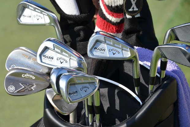Jim Furyk's Callaway RAZR X Forged irons shine brightly in the early-morning sun on Tuesday.