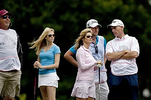 Kirk Triplett, far left, along with Dowd Simpson, Tabitha Furyk, Webb Simpson and Jim Furyk during the PGA Tour Wives Golf Classic.