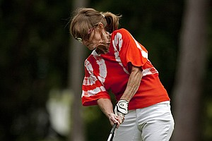 Cathi Triplett, wife of PGA Tour player Kirk Triplett during the PGA Tour Wives Golf Classic on Dye's Valley Course.