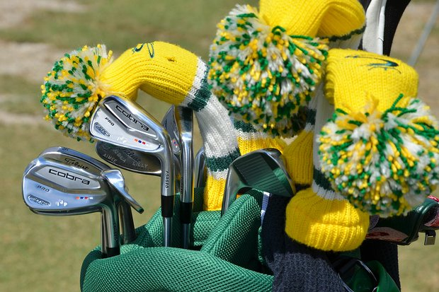 Ian Poulter is still using a Masters-themed bag to carry his Cobra AMP Cell Pro irons.