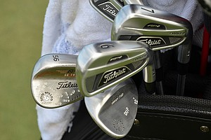"Jason Dufner plays Titleist 712 AP2 irons and Titleist Vokey Design wedges that are stamped with ""DUF."""