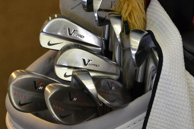 While Rory McIlroy attends his press conference on Wednesday, his Nike VR Pro Blades and VR Forged wedges wait outside the media center.
