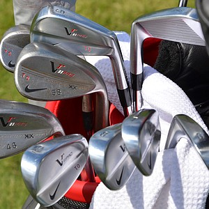 Thorbjorn Olesen's Nike VR Pro Blades and VR Forged wedges are all stamped with his initials.