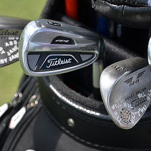 Zach Johnson's Titleist Vokey Design pitching wedge is stamped with the name of one of his sons, Will, and his lob wedge is stamped with his daughter's name, Abby.