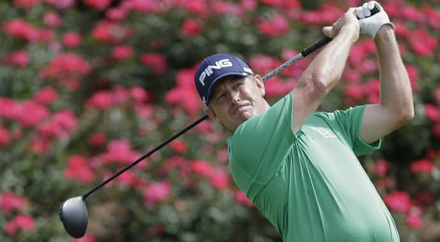 Jeff Maggert hits from the 18th tee during the third round of The Players Championship. Maggert finished with a 6-under 66 on Saturday.
